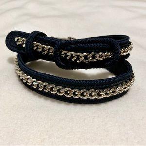 BCBG MaxAzria Navy Knit and Chain Detail Belt 36